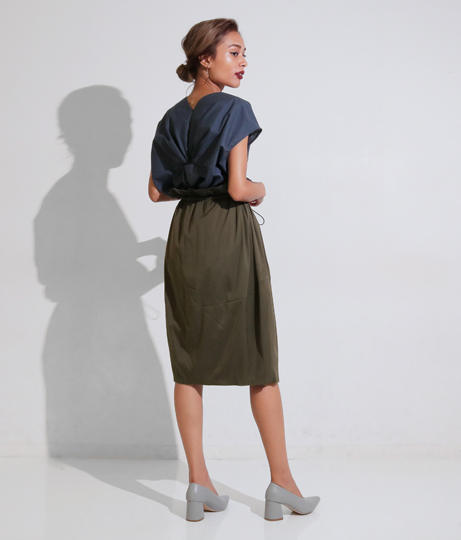 ドローストリングコクーンスカート(ボトムス・パンツ /ミモレ丈スカート・スカート) | Settimissimo