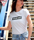 GUESS LADIES S/S BOX LOGO TEE