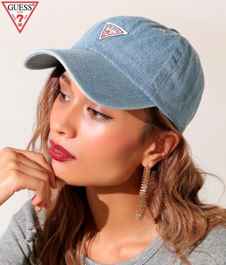【新色追加】GUESS TRIANGLE LOGO DENIM 6 PANEL CAP