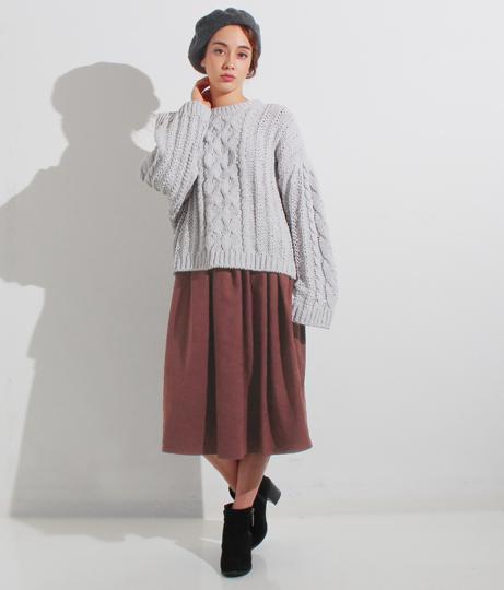 スウェードタッチタックギャザースカート(ボトムス・パンツ /ミモレ丈スカート・スカート) | Settimissimo