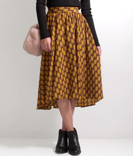 ●デシンレトロ柄フィッシュテールスカート