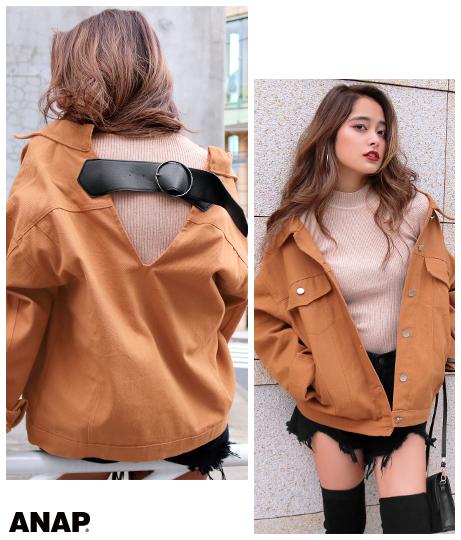 バックベルトデザインジャケット