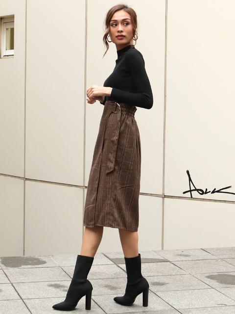 グレンチェックタイトラップスカート