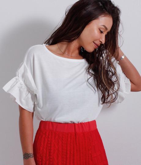 ギャザーフリル袖Tシャツ
