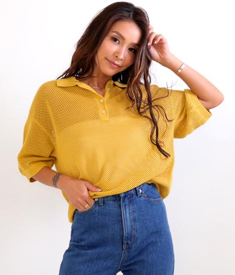 メッシュ透かしポロシャツ