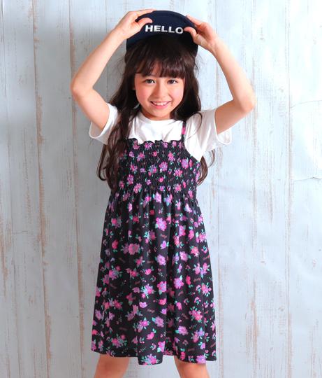 花柄シャーリングワンピース(ワンピース・ドレス/ミニワンピ) | ANAP KIDS
