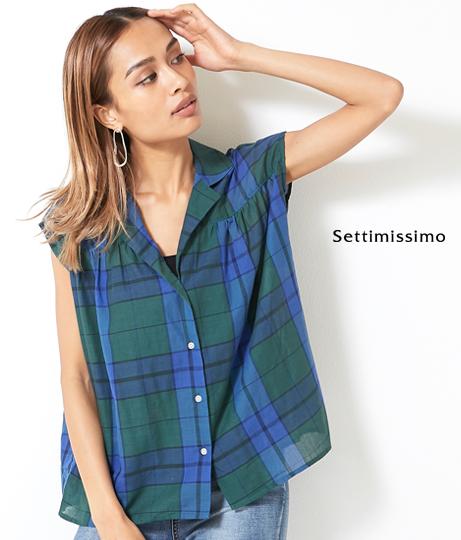 マドラスチェックオープンカラーノースリーブシャツ