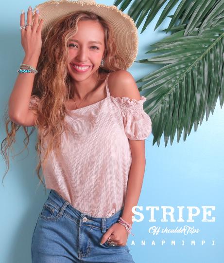 ストライプオフショルダートップス(トップス/チュニック・シャツ・ブラウス) | anap mimpi