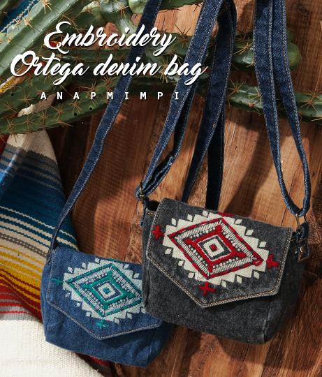 ●オルテガ刺繍デニムミニショルダーバッグ