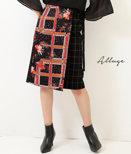 ●チェックオンフラワーラップタイトスカート