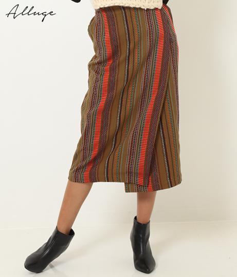 ストライプジャガードラップタイトスカート