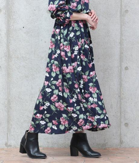 ●柄デシンマキシスカート