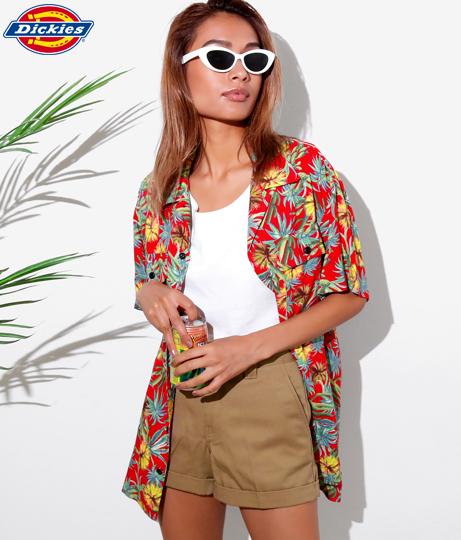 サボテン柄レーヨンオーバーサイズ半袖オープンカラーシャツ