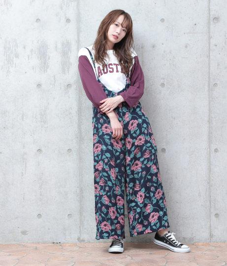 バラ柄キャミサロペット(ワンピース・ドレス/サロペット/オールインワン)   Factor=