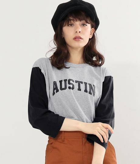 袖配色ロンTシャツ