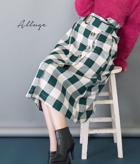 ブロックチェックベルトデザインスカート