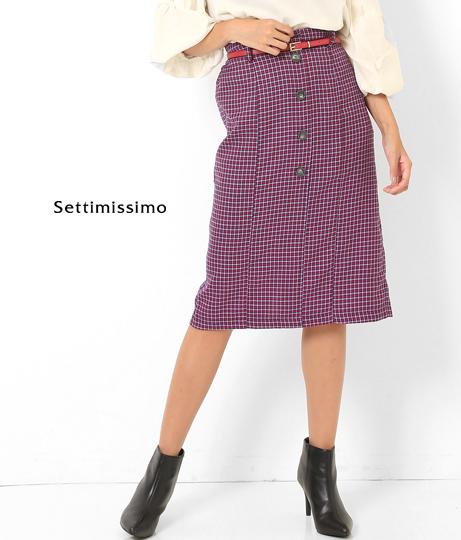 センターボタンベルト付ガンクラブチェックタイトスカート(ボトムス・パンツ /スカート) | Settimissimo