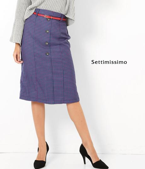●センターボタンベルト付ガンクラブチェックタイトスカート