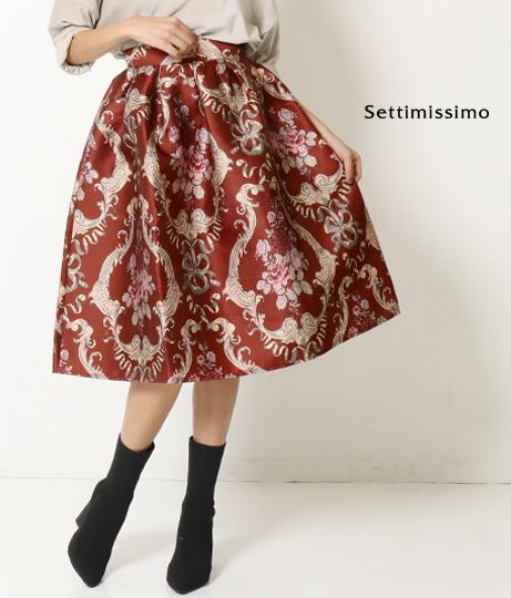 ●フラワーモチーフフレアーミモレ丈スカート