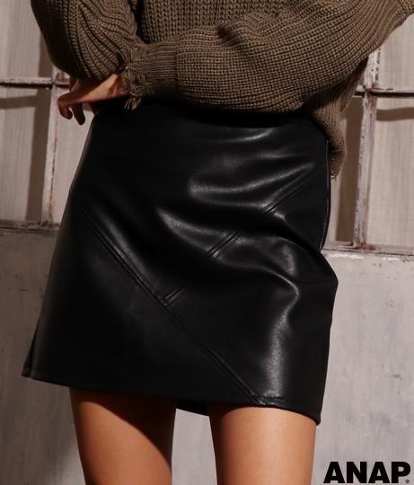 レザー台形スカート