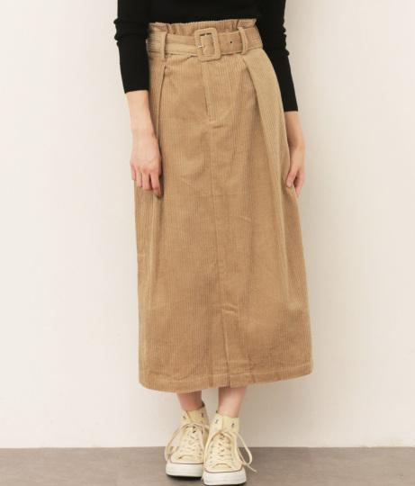 ベルト付コーデュロイタイトスカート