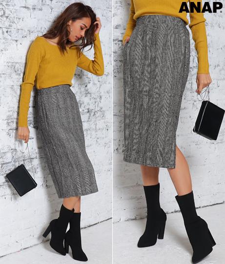●グレンチェックサイドスリットスカート