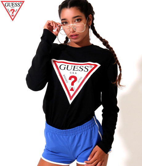 GUESS L/SLV TRIANGLE LOGO TEE SHIRT