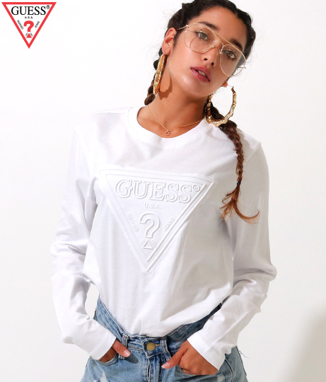 GUESS L/SLV EMBOSSED LOGO TEE SHIRT