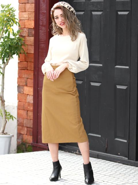 ●起毛ツイルタイトスカート