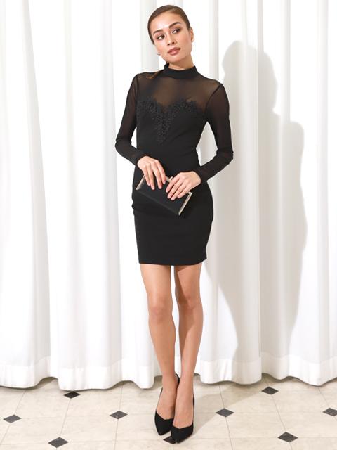 レースメッシュプチハイネックブラックドレス