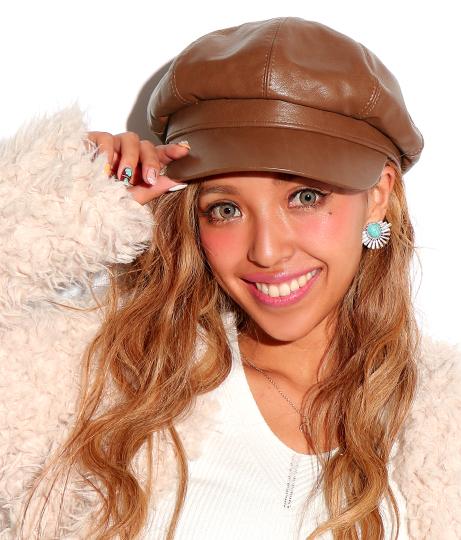 フェイクレザーキャスケット(ファッション雑貨/ハット・キャップ・ニット帽 ・キャスケット・ベレー帽) | ANAP