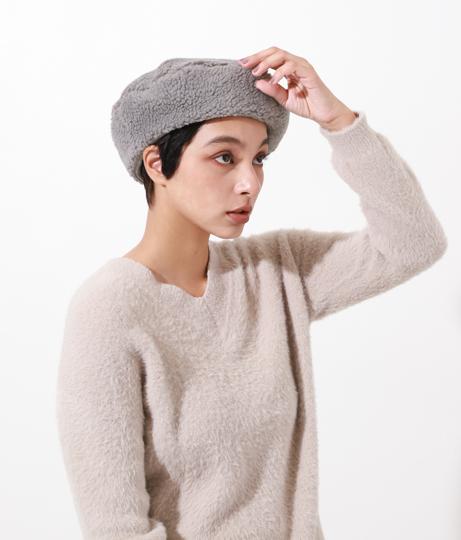 ボアベレー帽(ファッション雑貨/ハット・キャップ・ニット帽 ・キャスケット・ベレー帽)   Alluge