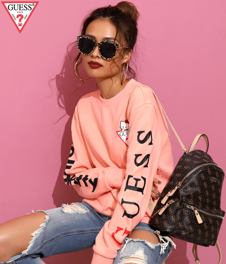 [GUESS x Hello Kitty] SLEEVE LOGO CREW SWEAT