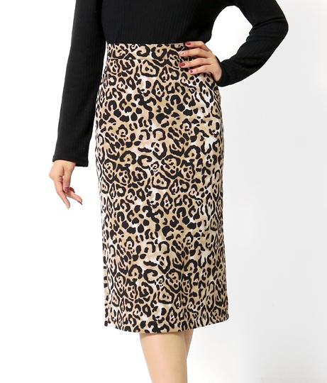 バックスリットレオパードナロースカート(ボトムス・パンツ /ミモレ丈スカート・スカート) | anap Latina