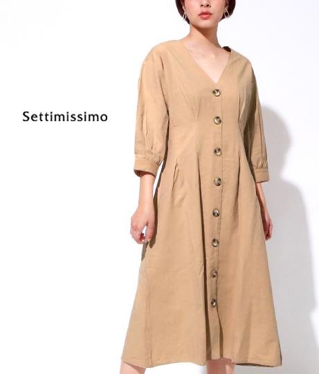 コットンウエストタックボリュームスリーブワンピース(ワンピース・ドレス/ミディアムワンピ)   Settimissimo