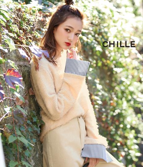 袖口ボーダーシャギーニットトップス | CHILLE