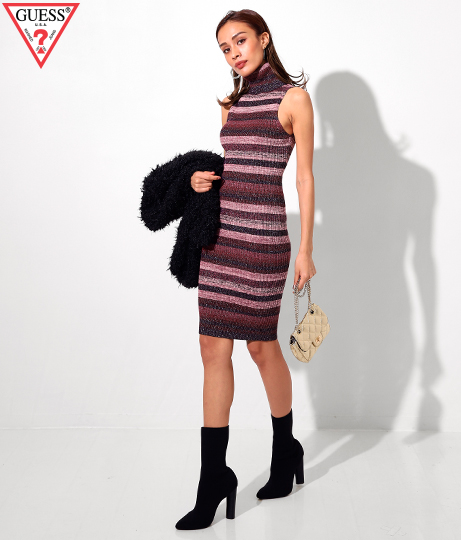 GUESS RIBBED TURTLENECK SWEATER DRESS