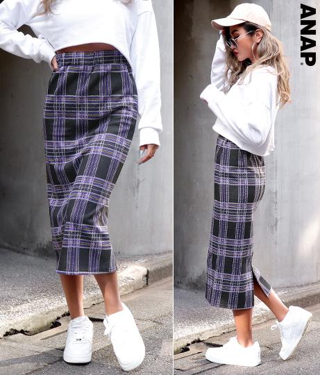 チェック柄ジャガードタイトスカート