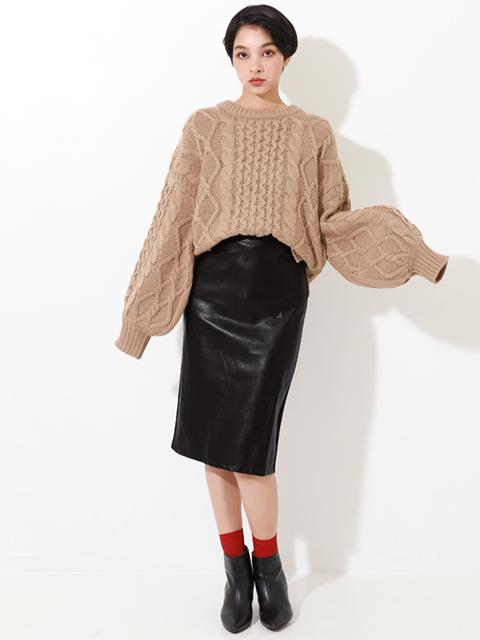 フロントエコレザータイトスカート