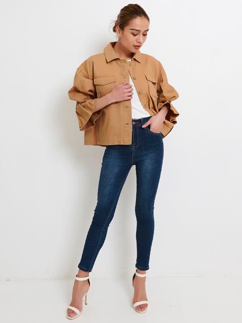 綿ツイルフリルスリーブミリタリージャケット