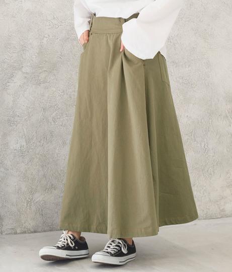 配色ステッチミリタリースカート