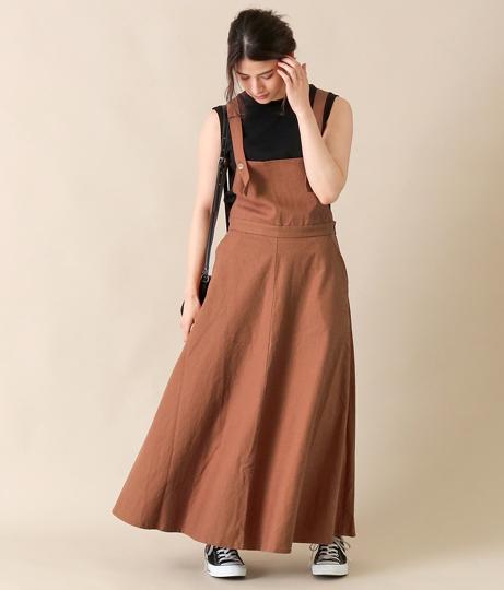 コットンリネンジャンパースカート(ワンピース・ドレス/ロングワンピ)   AULI