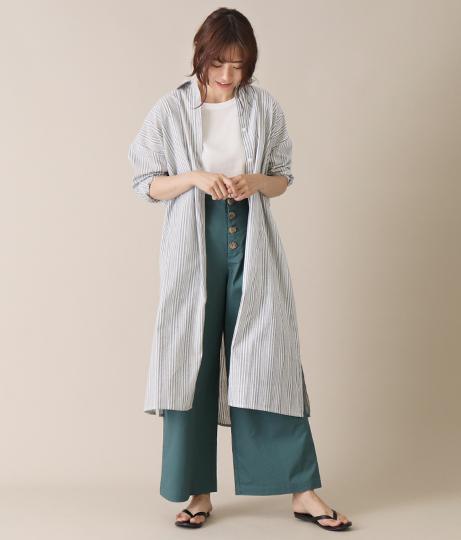 ストライプバックリボンシャツワンピース(ワンピース・ドレス/ロングワンピ) | AULI