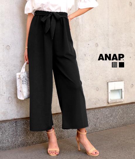 リボン付ストライプワイドパンツ(ボトムス・パンツ /ガウチョパンツ ・ワイドパンツ ・ロングパンツ) | ANAP