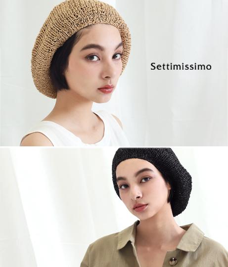 ペーパーザックリ編みベレー帽