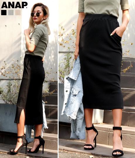 サイドスリットリブタイトスカート