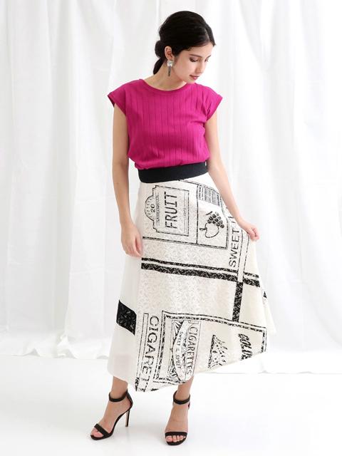 レースシガレットプリントスカート