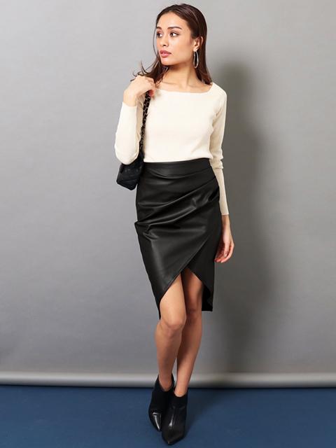 エコレザーカシュクールフロントスリットタイトスカート