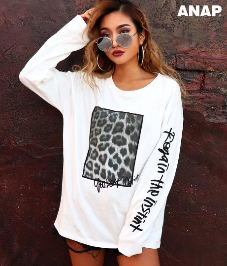 レオパード柄プリントロングTシャツ