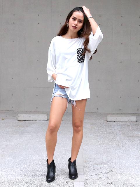 レオパード柄ポケットビッグロングTシャツ